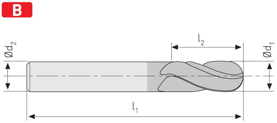 FK204 - Solid Carbide Ball Nose End Mills, Short