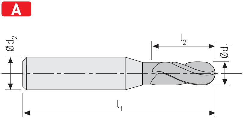 FK404 - Küresel Karbür Freze, Uzun